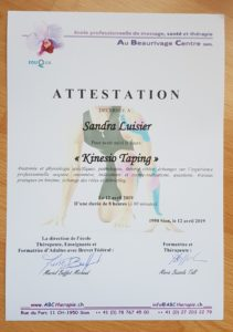 Attestation Kinesio Taping
